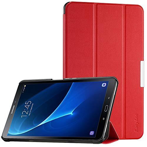 EasyAcc Ultra Dünn Hülle kompatibel für Samsaung Galaxy Tab A 10.1, mit Standfunktion und Auto Sleep/Wake Up Funktion Slim Leder Case Perfekt kompatibel für Galaxy Tab A 10.1 Zoll T580/ T585, Rot