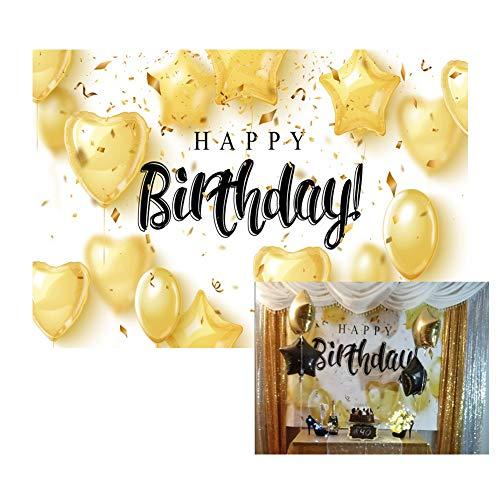 Baocicco 7x5ft Vinyl Happy Birthday Backdrop Photography Background Golden Balloon Golden Ribbon Birthday Celebration Party Backdrop Children Baby Adults Portraits Photo Studio Props