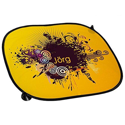 Auto-Sonnenschutz mit Namen Jörg und stylischem Motiv in Gelb mit Kreisen | Auto-Blendschutz | Sonnenblende | Sichtschutz
