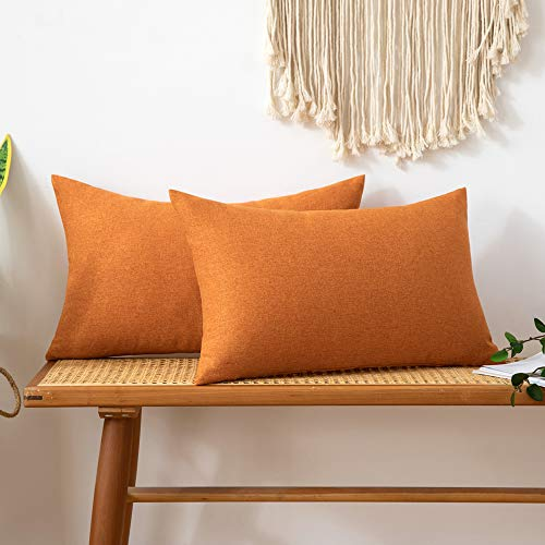 MIULEE Pack of 2 Faux Linen Square Throw Pillow Case Cushion Covers Home for Sofa Chair Couch/Bedroom Livingroom Decorative Home Decor Pillowcases 12x20 Inch 30x50cm Orange