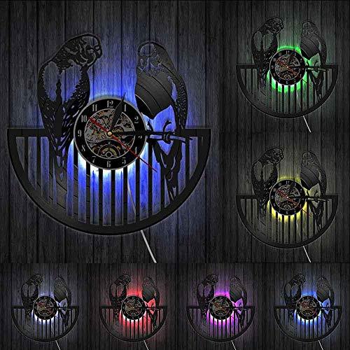 Pájaros, Reloj De Pared con Disco De Vinilo, Reloj De Pared De Cuarzo Silencioso con Animales Modernos, Decoración De Pared para Habitación De Niños con Loro, 30 Cm (con Led)
