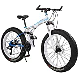 Xiaoyue Erwachsene Mountain Bikes, Faltbarer Rahmen Fat Tire Doppel-Suspension-Gebirgsfahrrad, High-Carbon Stahlrahmen, All Terrain Mountainbike, 26' Red, 30 Drehzahl lalay