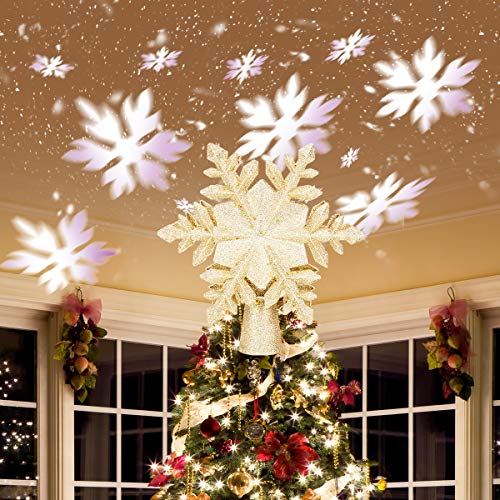 Benjia Christmas Tree Topper Lighted with White Snowflake Projector,3D Glitter LED Rotating Snowflake Lighted Tree Topper for Christmas Tree Decoration Decorations(Gold)