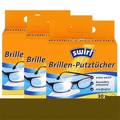 Swirl Brillen-Putztücher 30 einzeln verpackte Tücher in Spenderbox - Anti-Beschlag-Effekt - Extra weich und schonend - Fettlösend - Streifenfrei (3er Pack)
