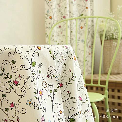 ShiyueNB Modern onbeduidend vers klein bloementafelkleed wit bladgroen katoen tafelkleden koffietafdekking 90 * 90 P