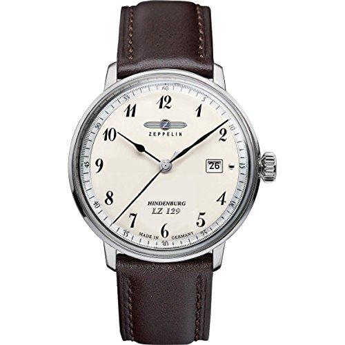 Zeppelin Watches 7046-4 - Reloj analógico para Caballero de Cuero Beige