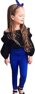 Amlaiworld Mädchen Mode Trägerlos Langarmshirt  blau Hose Kleinkind Prinzessin pullis Kleidung Set,0-5 Jahren
