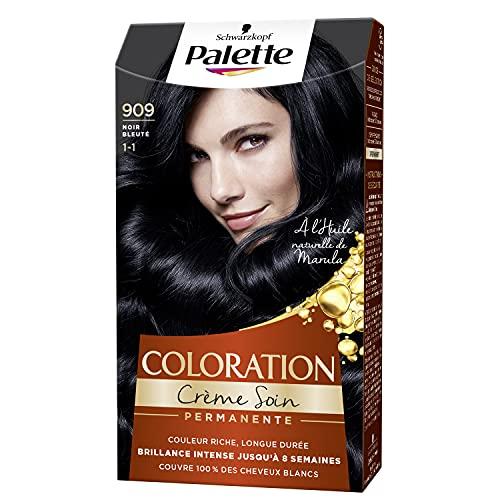 Schwarzkopf - Palette - Coloration Permanente Cheveux - Crème Soin - Couvre 100% des Cheveux Blancs - Tenue 8 semaines - Noir Bleuté 909