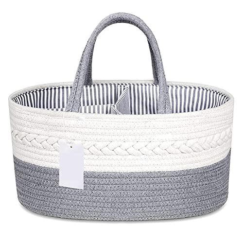 OUZHOU Cesta de pañales para bebé, organizador de pañales portátil, bolsa de algodón puro con divisor desmontable