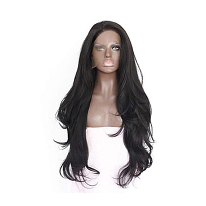 媒染剤赤同様のZXF 天然黒の化学繊維かつらフロントレース長い巻き毛の大きな波高温シルクバッドシルク化学繊維かつら 美しい