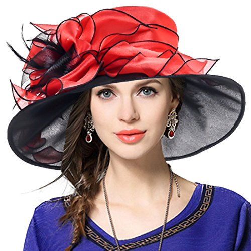 Women Floral Wedding Dress Tea Party Derby Racing Church Hat (Red&Black)