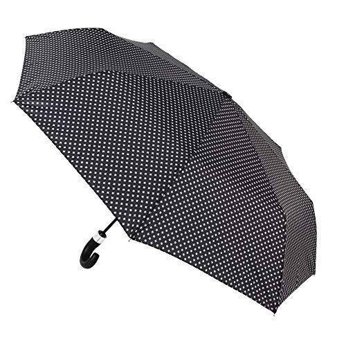 Paraguas Vogue. Un clásico de la Marca Que destaca por su Elegancia y funcionalidad. Paraguas Antiviento, automático y Acabado Teflón. (Negro con pequeños Motivos geométricos)