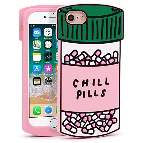 YONOCOSTA Cute iPhone SE 2020 Case, iPhone 7 Case, iPhone 8 Case, Funny 3D Cartoon Capsule Bottle Chill Pills Soft Silicone Case Shockproof Back Cover for iPhone 7/ iPhone 8 (4.7' Inch)