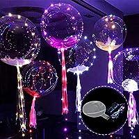PROKTH 5個入り 24インチ光る風船 風船ライト 繰り返し使用可能 雰囲気飾る 光るバルーン 夜灯キラキラ 披露宴/クリスマス/花火大会/パーティー バレンタインデーなどに適用 4種類モード調整 3種類自由選び可能
