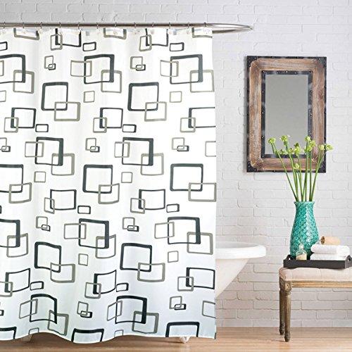 Linens Limited - Rideau de Douche - Motif carrés en Relief - Anthracite - 180 x 180 cm