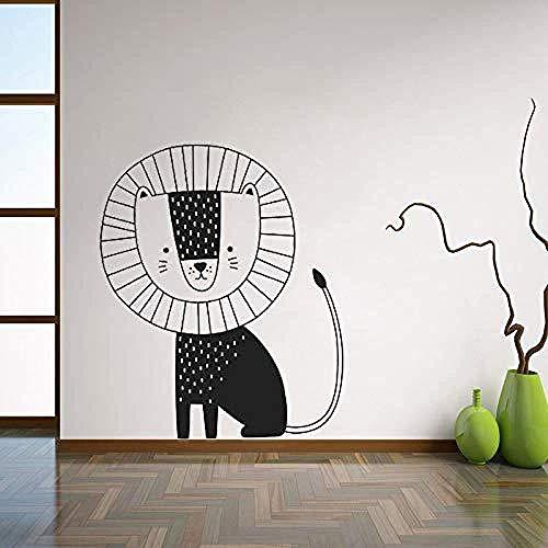 Estilo Nórdico Lindo Pequeño León Tallado De Dibujos Animados Decoración De Dormitorio Infantil Pegatinas 42X50Cm