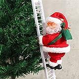 Eléctrico Papá Noel Escalada Escalera Muñeca Decoración Peluche Muñeca Juguete para Fiesta de Navidad Casa Puerta Decoración de Pared Regalos