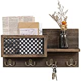 Dahey Wall Mounted Mail Holder Wooden Mail and Key Organizer with 4 Double Hooks Entryway Decorative Shelf Rustic Home Decor for Entryway Mudroom Hallway Kitchen Office, Bronze