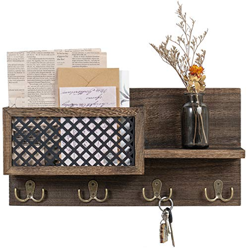 Dahey Wall Mounted Mail Holder Wooden Mail and Key Organizer with 7 Hooks Entryway Decorative Shelf Rustic Home Decor for Entryway Mudroom Hallway Kitchen Office, Bronze
