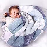 Cambria Baby Organic Cotton Baby Quilt. Thick Comforter Blanket with Thermal Polyester Batting for Extra Warmth. Gender Neutral and Machine Washable. (40 x 40 inches)