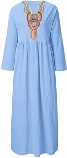 Sherostore ♡ Women's Cotton Linen Long Sleeve Solid Loose V Neckline Boho Long Dress Kaftan Casual Dress