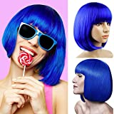 Short Bob Wigs With Straight Bangs 12Inch Short Synthetic Fiber Bob Wigs for Women Short Bob Wigs and Black Color Bob Wig With A Free Wig Cap (Blue)