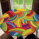 Fitted Tablecloth Cover Outdoor/Indoor Round Table Cover Waterproof Elastic Table Cloth Protector, Vector Abstract Seamless Pattern. Colorful Tablecloth Size 44