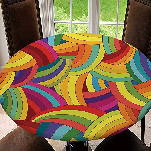 Fitted Tablecloth Cover Outdoor/Indoor Round Table Cover Waterproof Elastic Table Cloth Protector, Vector Abstract Seamless Pattern. Colorful Tablecloth Size 44'(Fit for 32.2' 36.1' Table) N641