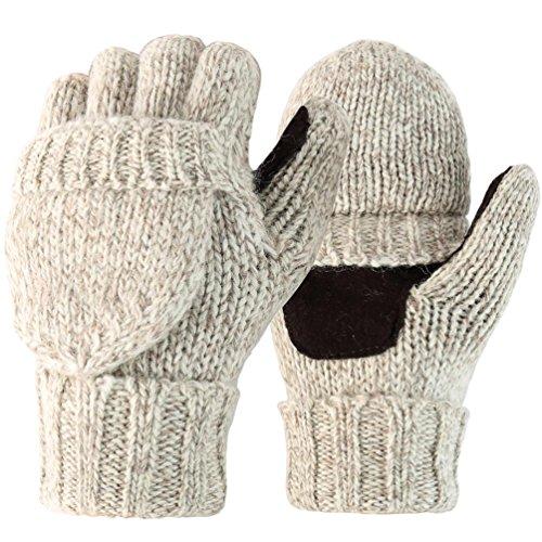 Novawo Unisex Wool Blend Crochet Convertible Fingerless Gloves with Mitten Cover (Grey XL)