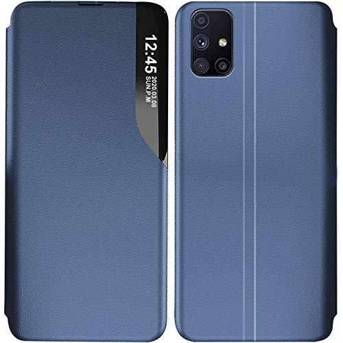 14chvily Funda de teléfono móvil compatible con Samsung Galaxy A52 5G funda View Case Case Slim PU piel Flip Cover con soporte para Samsung Galaxy A52 5G (Azul)