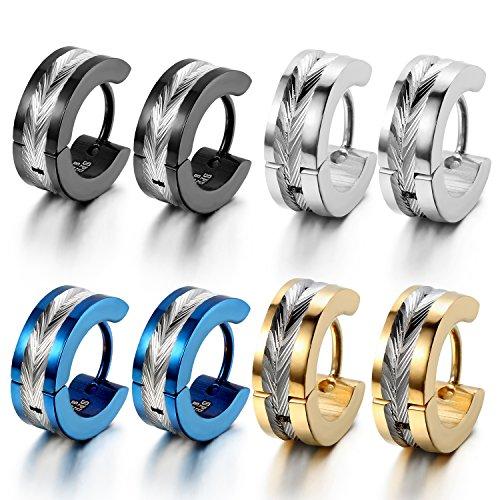 OIDEA [4 Coppie Orecchini per Uomo Orecchini Rotondi in Acciaio Inox Modello Fiori Colore Blu Nero Oro Argento Regalo Perfetto