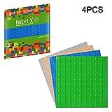 NextX 4 Plaques de Base pour Jeux de Construction 25cm x 25cm Compatible avec Briques de Marque Principales - Vert+Bleu+Gris+Beige