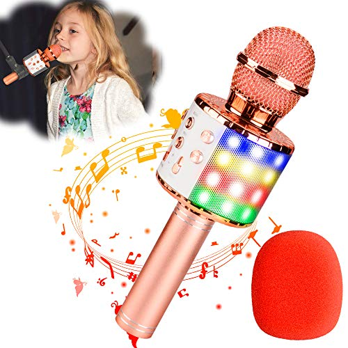 Qoosea Karaoke Microphone for Adults Kids Bluetooth Wireless 2200mAh Rechargeable 4 in 1 Carpool Karaoke Microphone for Car Portable Microphone Home KTV Player Recorder with LED Light