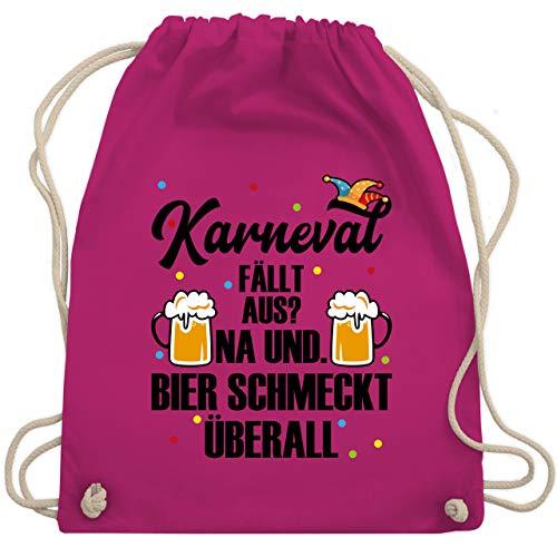 Shirtracer Karneval & Fasching - Karneval fällt aus Bier schmeckt überall - schwarz - Unisize - Fuchsia - Geschenk - WM110 - Turnbeutel und Stoffbeutel aus Baumwolle
