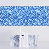 YQYMSPX Pegatinas para azulejos de cocina, baño, 10 x 10 cm, diseño de mosaico, color azul, impermeable, autoadhesivas, cocina, baño, sala de estar, TV, decoración de fondo, 1 juego de 20 unidades