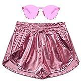 Perfashion Women's Pink Metallic Shorts Summer Shiny Yoga Elastic Waist Pants Matching with Glasses