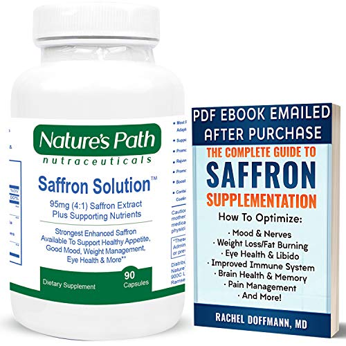 Best Saffron Supplement Appetite Suppression Pills 95mg Saffron Extract for Weight Loss, Good Mood, Eye Health, Best Hunger Suppressant, Natural Appetite Suppression Saffron Supplement Capsules