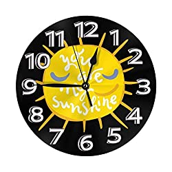 Mooneyenton You are My Sunshine Wall Clock, Silent Non-Ticking Quality Quartz Battery Operated Wall Clock - 10 Inch Round Easy to Read Decorative for Home Office School
