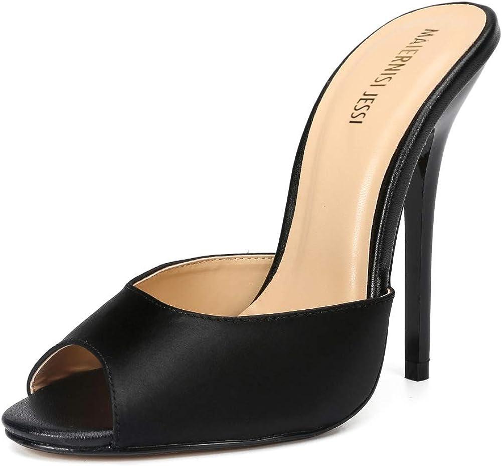 MAIERNISI JESSI Unisex Men's Women's Satin Stiletto High Heels Slide Sandals