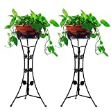 2Packs Metal Potted Plant Stand, ier Iron Plant Stand Planter Rack Flower Pots Holder Disply Rack,Plant Stands for Indoor Plants,Plants Stand Indoor (Black)