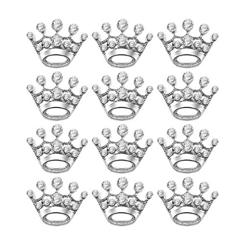 Tinksky 12pcs Fashion Diamante Wedding Party Pageant Tiara Crown Corsage Brooch Pin for Wedding Valentine's Day Gift DIY (Silver)