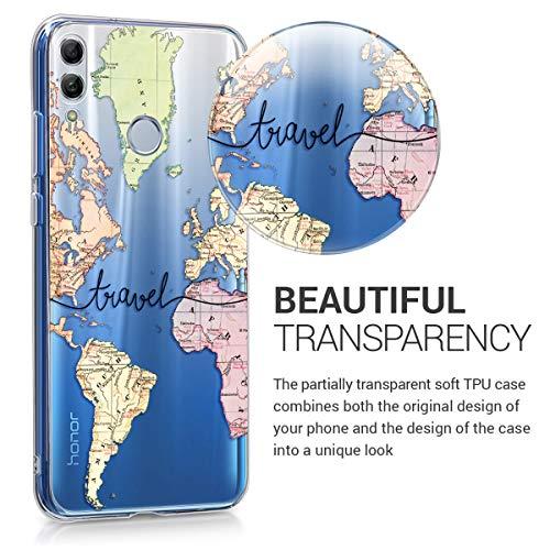 kwmobile Huawei Honor 10 Lite Hülle - Handyhülle für Huawei Honor 10 Lite - Handy Case in Travel Schriftzug Design Schwarz Mehrfarbig Transparent - 3