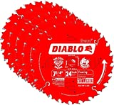 Freud D0724A Diablo 7-1/4-inch 24T ATB Thin Kerf Framing Saw Blades, 5-Pack