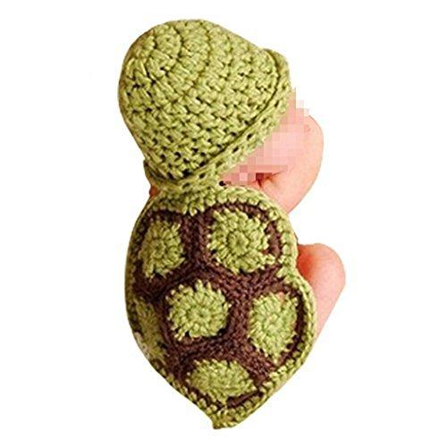 QUICKLYLY Estilo Lindo de la Tortuga para Bebé Atrezzo Fotografía del Recién Nacido Hecho a Mano de Ganchillo Beanie Sombrero Ropa