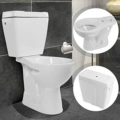 WC con Cassetta Sanitari Bagno con Cassetta esterna, 78x41,5x58,5 cm, Ceramica, Bianco Lucido, Completo, Tradizionale - Sanitari Bagno, Vaso Water
