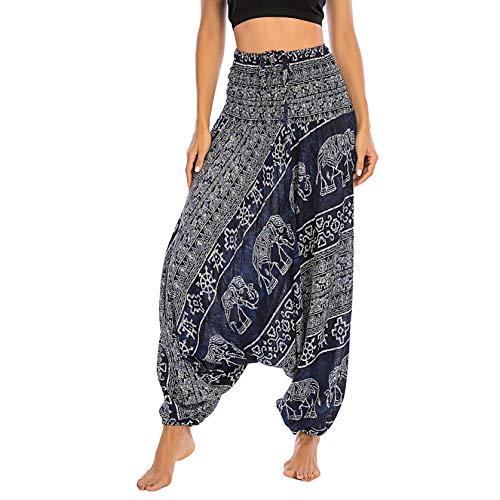 JIEXINXIN Señoras Hombres Leggings Mono Pantalones de Yoga Pantalones Deportivos Leggings Leggings Cintura Alta Hippie Boho PJs Lounge Beach Print (Azul Oscuro, Freesize)