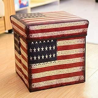 X Hot Popcorn Non-Woven Multi Functional Folding Ottoman Storage Stool Multi Creative British Retro Collapsible Cube (American Flag)