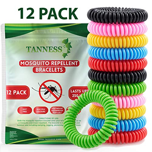 Tanness Mosquito Repellent Bracelet Pack of 12 - Natural Waterproof Travel Insect Repellent Bands Bracelets for Kids and Adults – Non-Toxic Deet-Free Outdoor Bug Repeller Wristbands