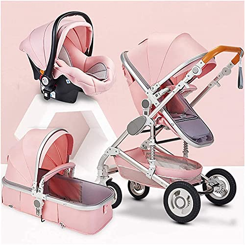Cochecito de bebé Strolle plegable de un solo clic 0-36 meses Carretilla de bebé, cochecito de bebé Ajustable Vista alta PrAM VIAJE CARRIUGO INFANTIL (Color : Light Pink)