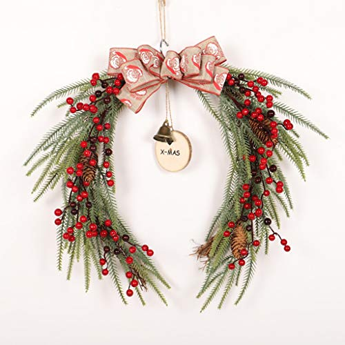 RUNWEI Christmas Wreath Front Door Trim Ring Horseshoe Garland With PE Red Fruit, Bells And Bows 45cm*50cm, Christmas Decoration